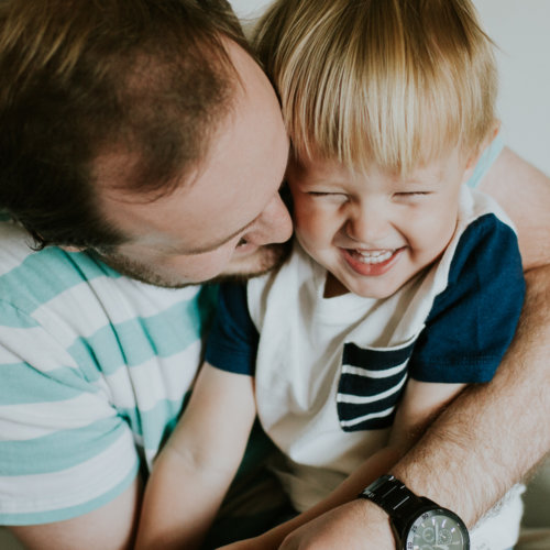 In-home lifestyle family session with two little boys.